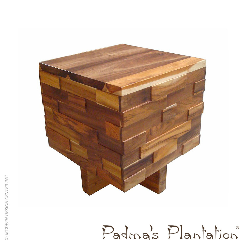 Block Wood Side Table ~ Teak block wood end table padma s plantation