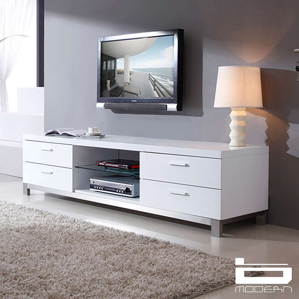 b modern promoter tv stands white metropolitandecor. Black Bedroom Furniture Sets. Home Design Ideas