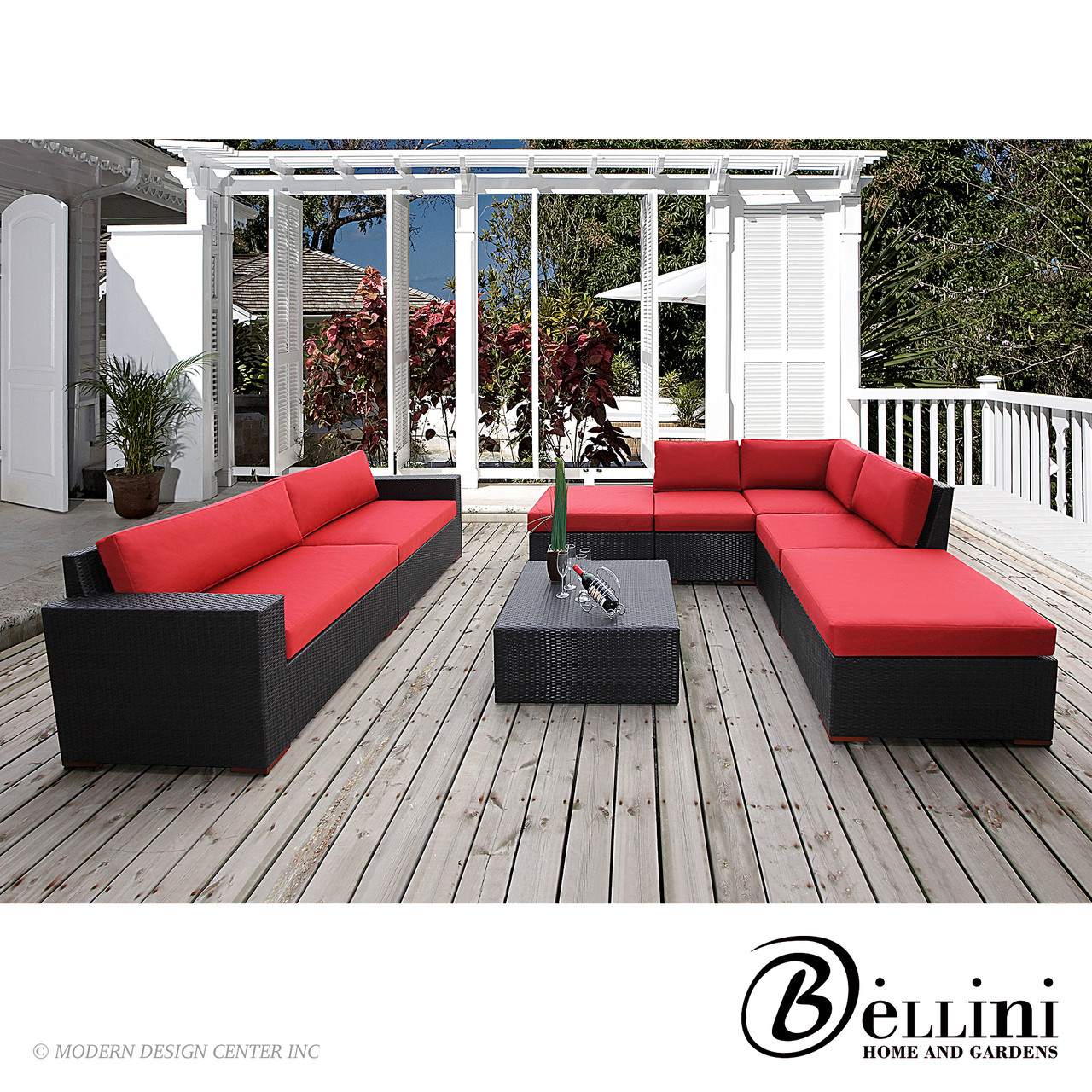 Home u003e Outdoor u003e Outdoor Furniture Sets u003e Bali 8-Piece Conversation Sectional Seating W7710821 | Bellini  sc 1 st  MetropolitanDecor : conversation sectional - Sectionals, Sofas & Couches