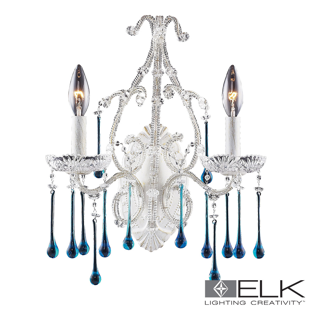 Opulence 2-Light Wall Bracket Aqua Crystal Antique White Frame