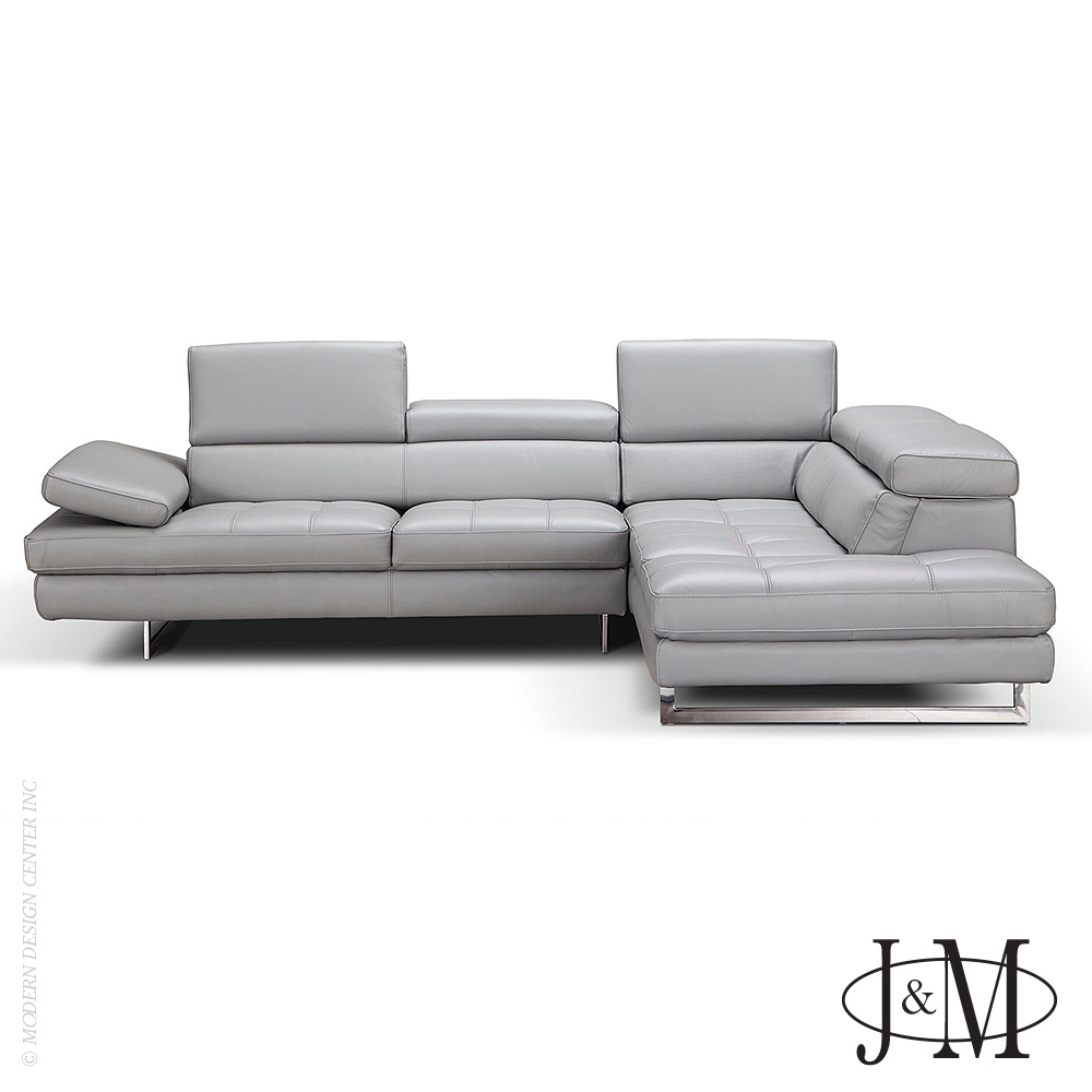A761 Italian Leather Sectional Light Grey RHF | J&M Furniture