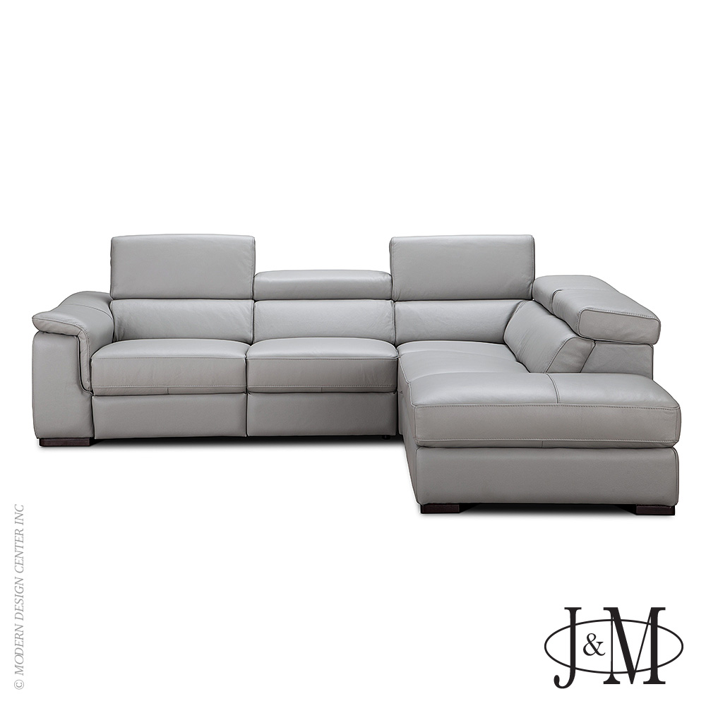 Perla Premium Leather Sectional RHF Chaise | J&M Furniture