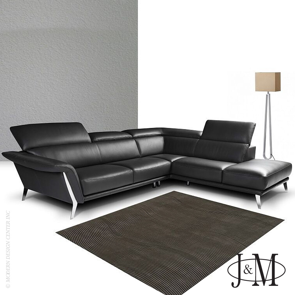 Heni Premium Leather Sectional RHF Chaise | J&M Furniture