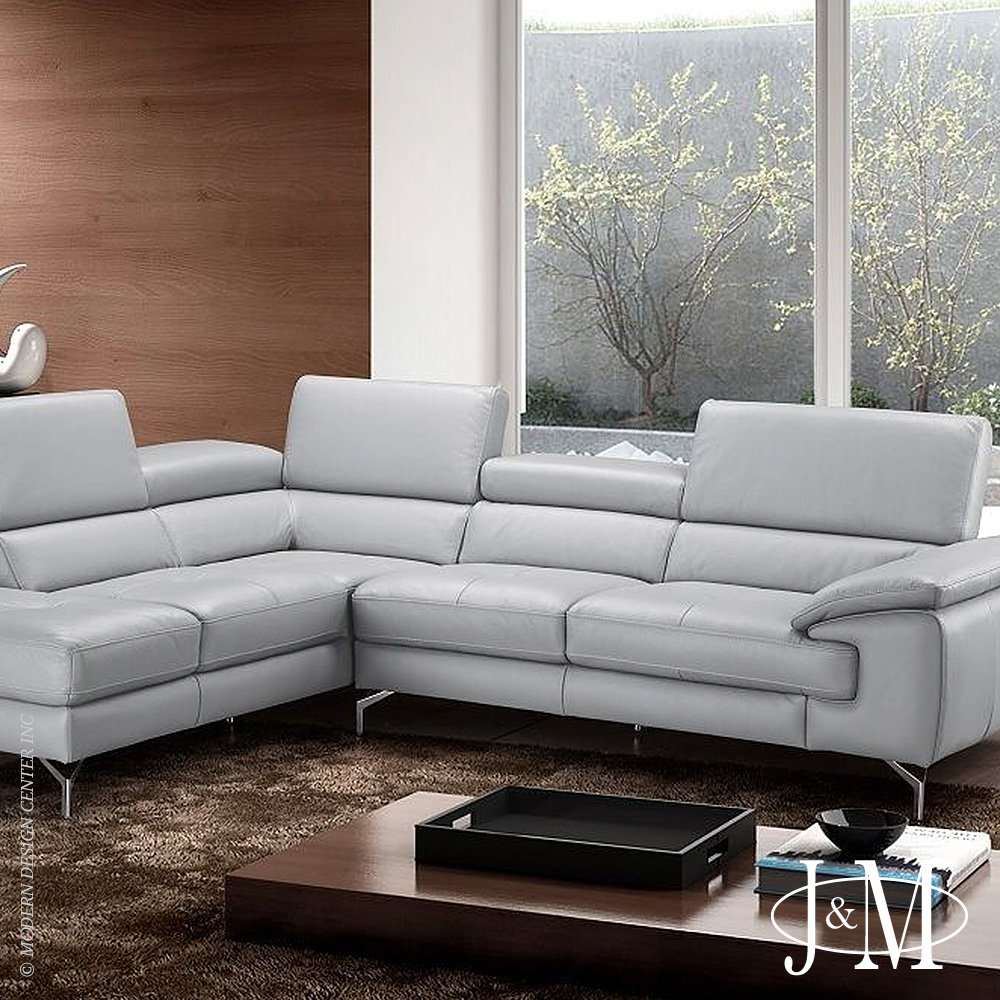 Olivia Premium Leather Sectional LHF Chaise | J&M Furniture
