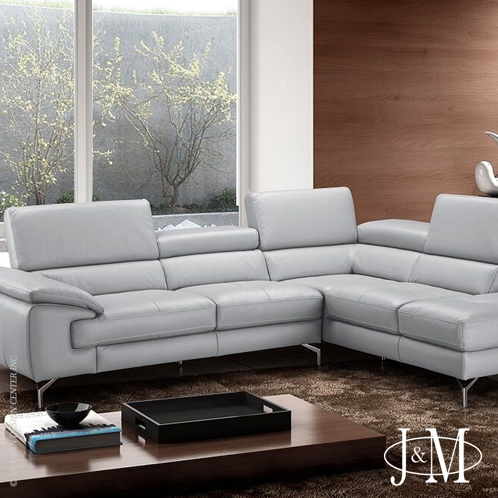 Olivia Premium Leather Sectional RHF Chaise | J&M Furniture