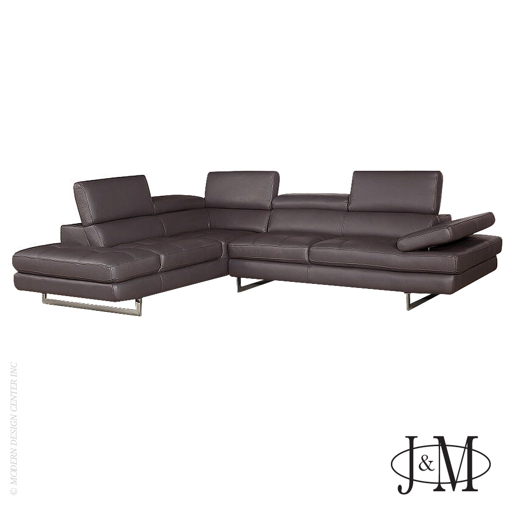 Brisbane Italian Leather Sectional Coffee LHF | J&M Furniture
