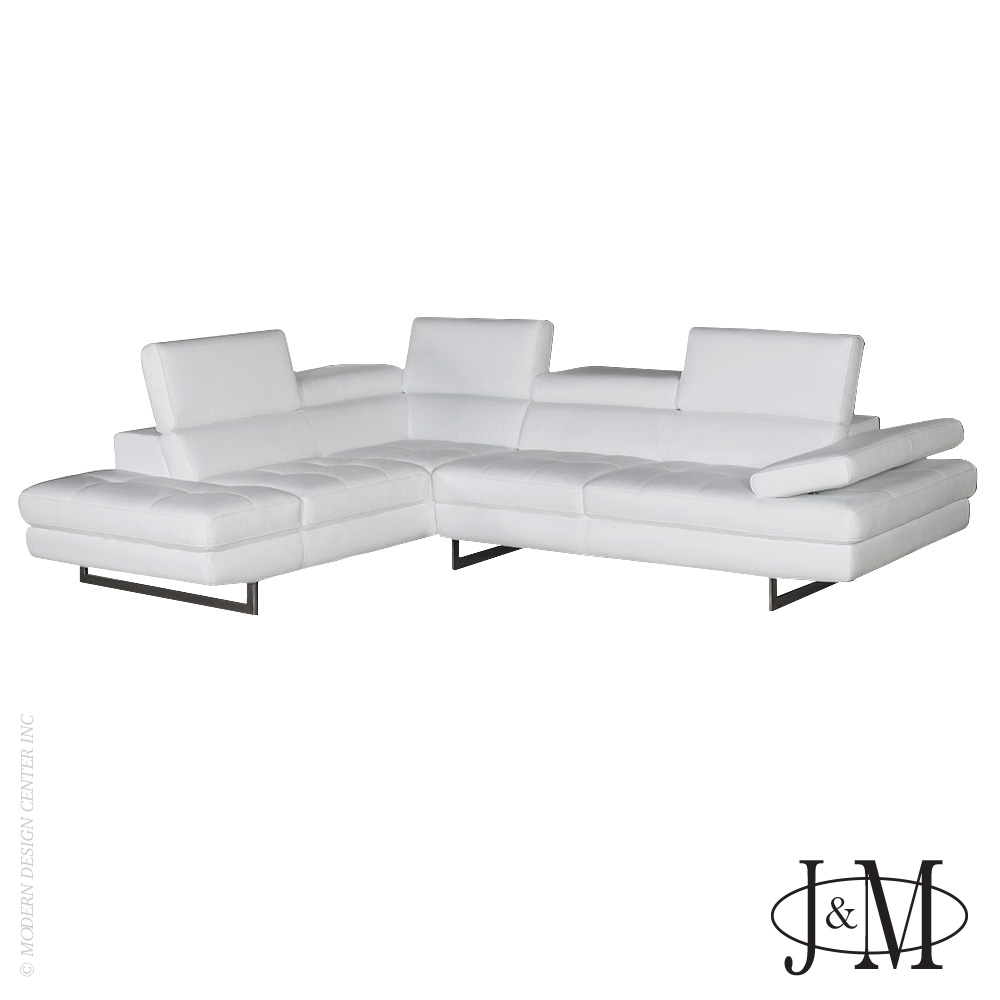 Matera Italian Leather Sectional White LHF | J&M Furniture