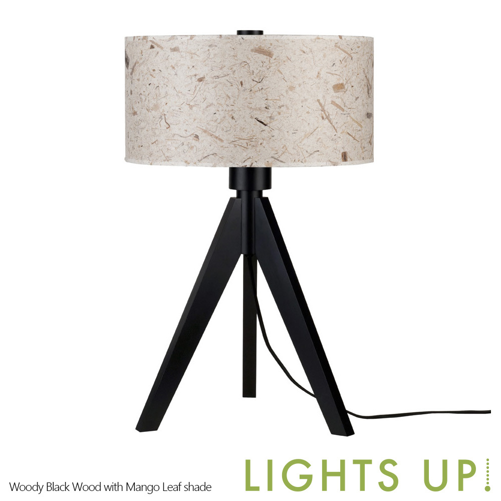 up woody table lamp black wood base lights up metropolitandecor. Black Bedroom Furniture Sets. Home Design Ideas