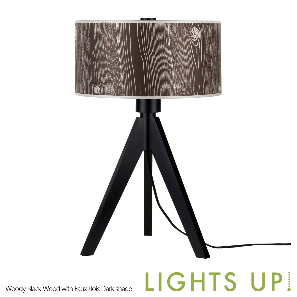 Up Woody Table Lamp Black Wood Base Lights Up