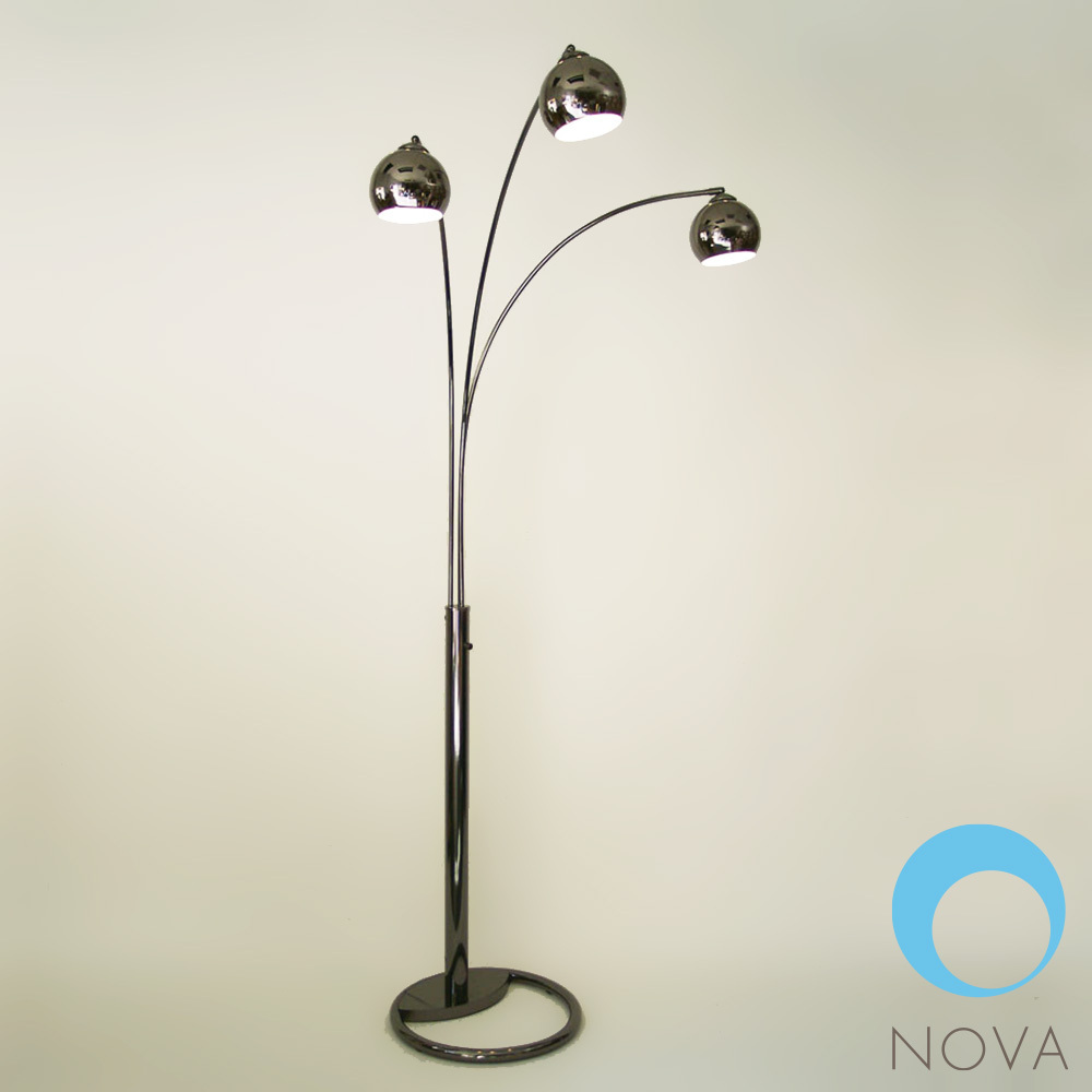 Triplet 3 Light Arc Floor Lamp Nova Metropolitandecor