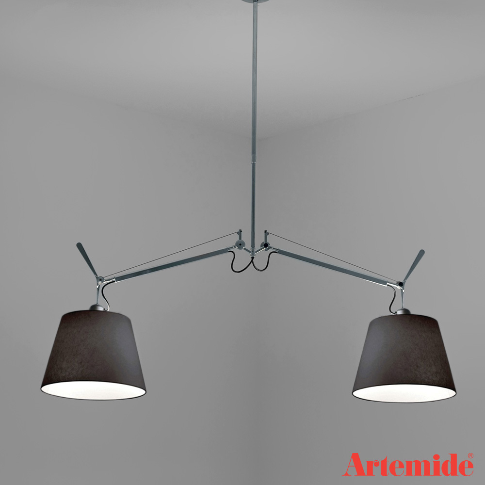 tolomeo double shade black fabric suspension artemide black friday sale 30 off metropolitandecor. Black Bedroom Furniture Sets. Home Design Ideas