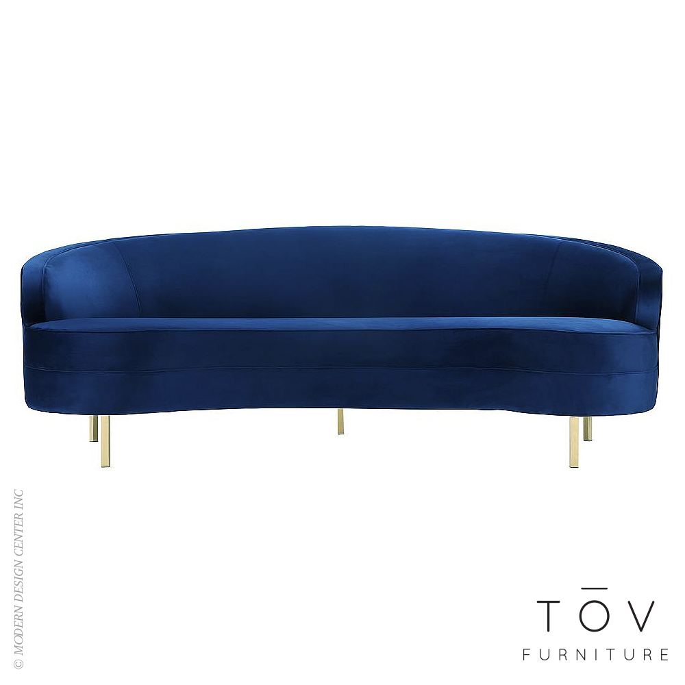 Baila Navy Velvet Sofa | Tov Furniture