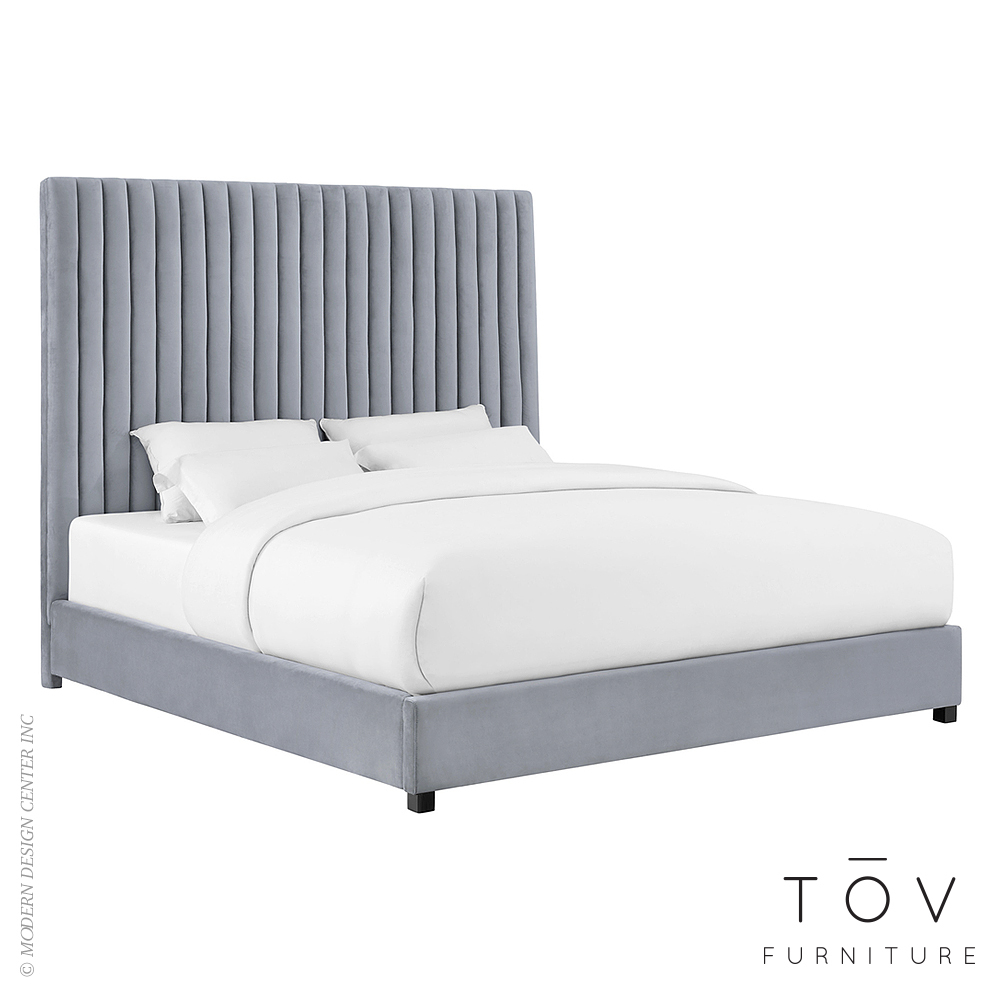 Arabelle Grey Velvet Bed in Queen | Tov Furniture
