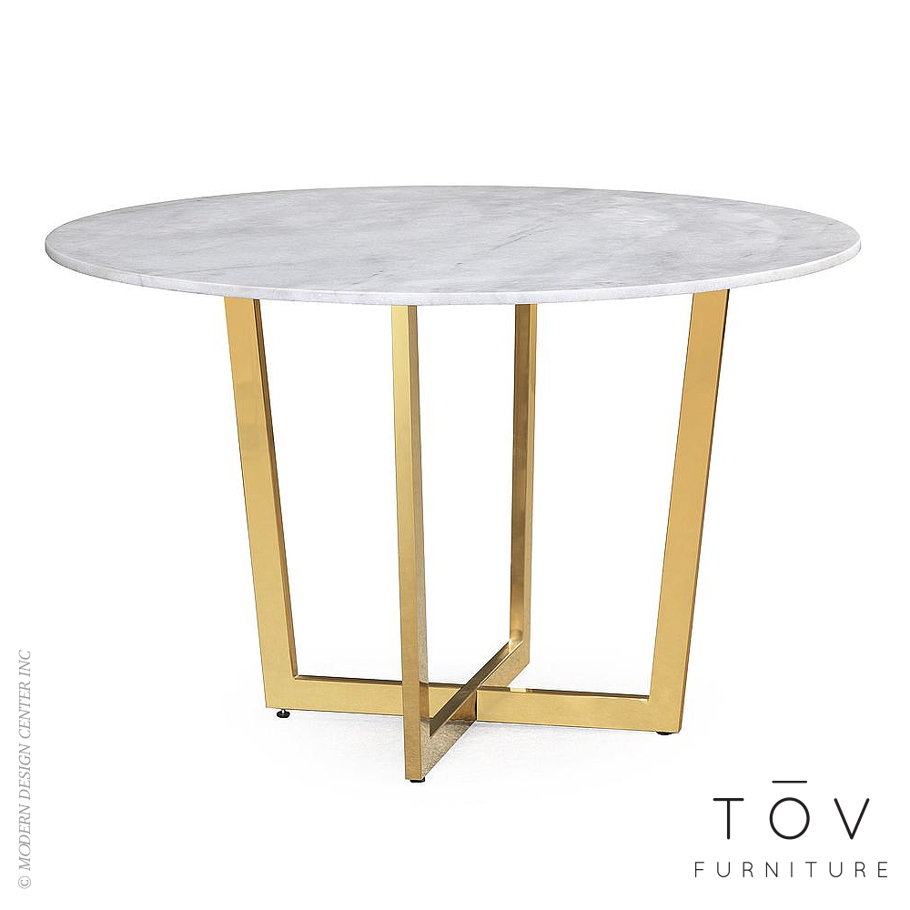 Maxim White Marble Dining Table | Tov Furniture
