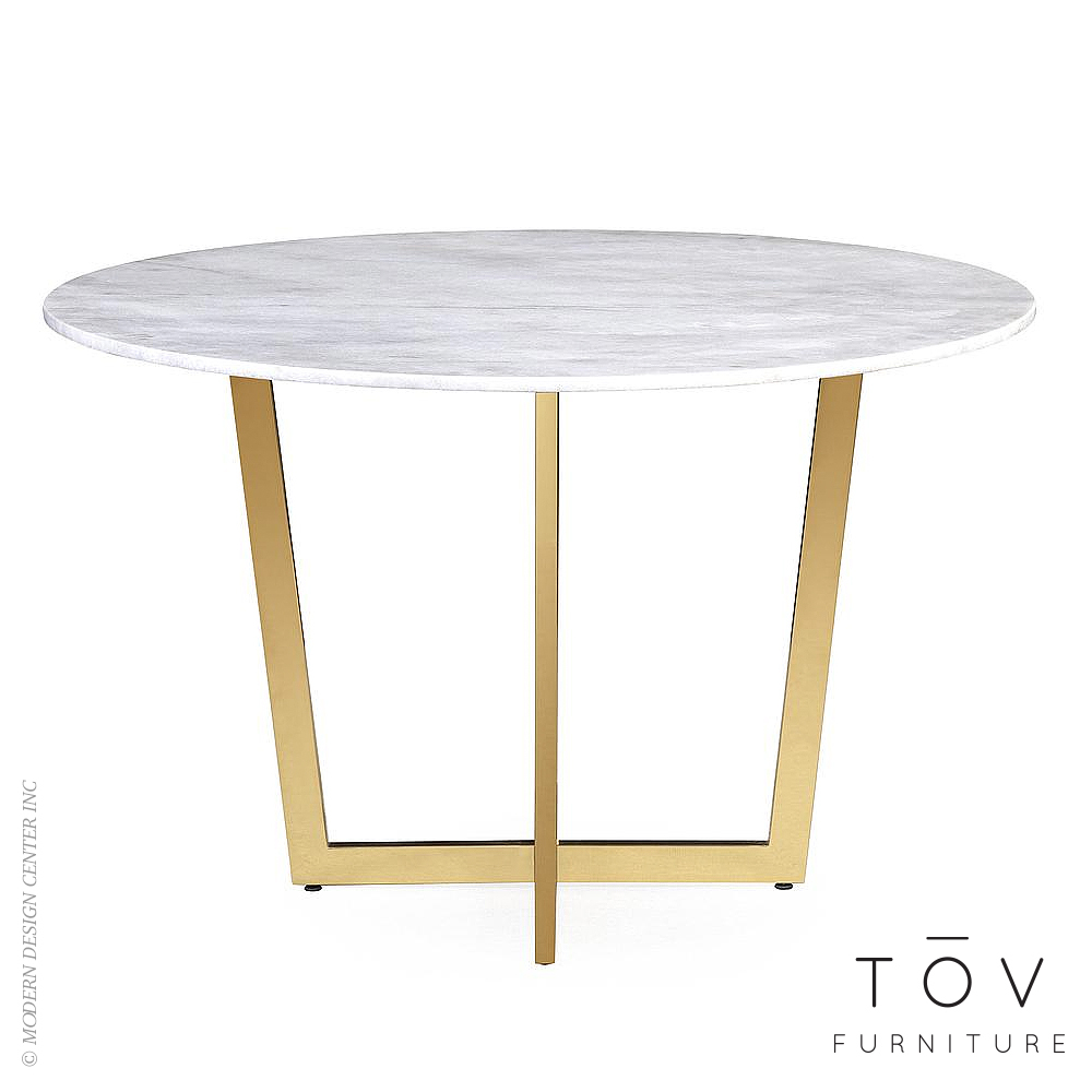 Maxim white marble dining table tov furniture metropolitandecor - Marble dining table prices ...