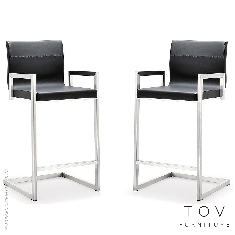 Milano black stainless steel counter stool set of 2 tov for Black counter stools