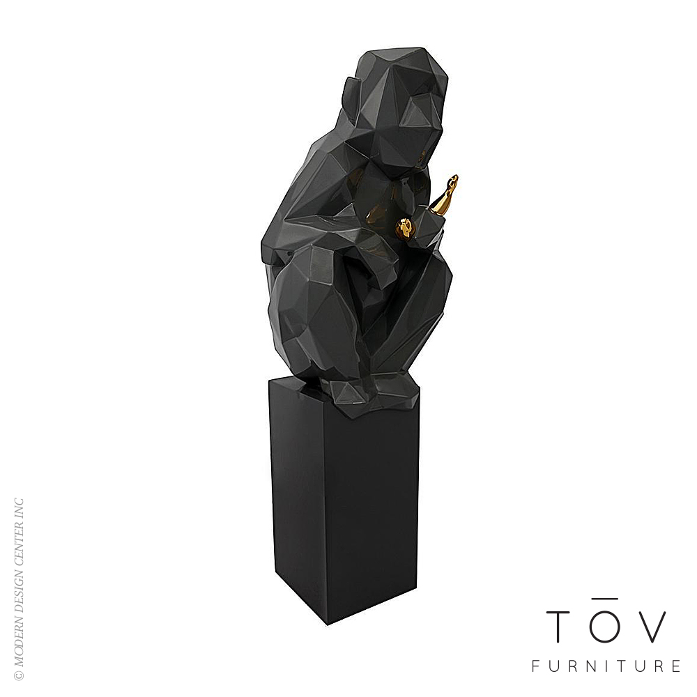 Monkey With Banana Large Sculpture, Grey And Gold   Tov Furniture