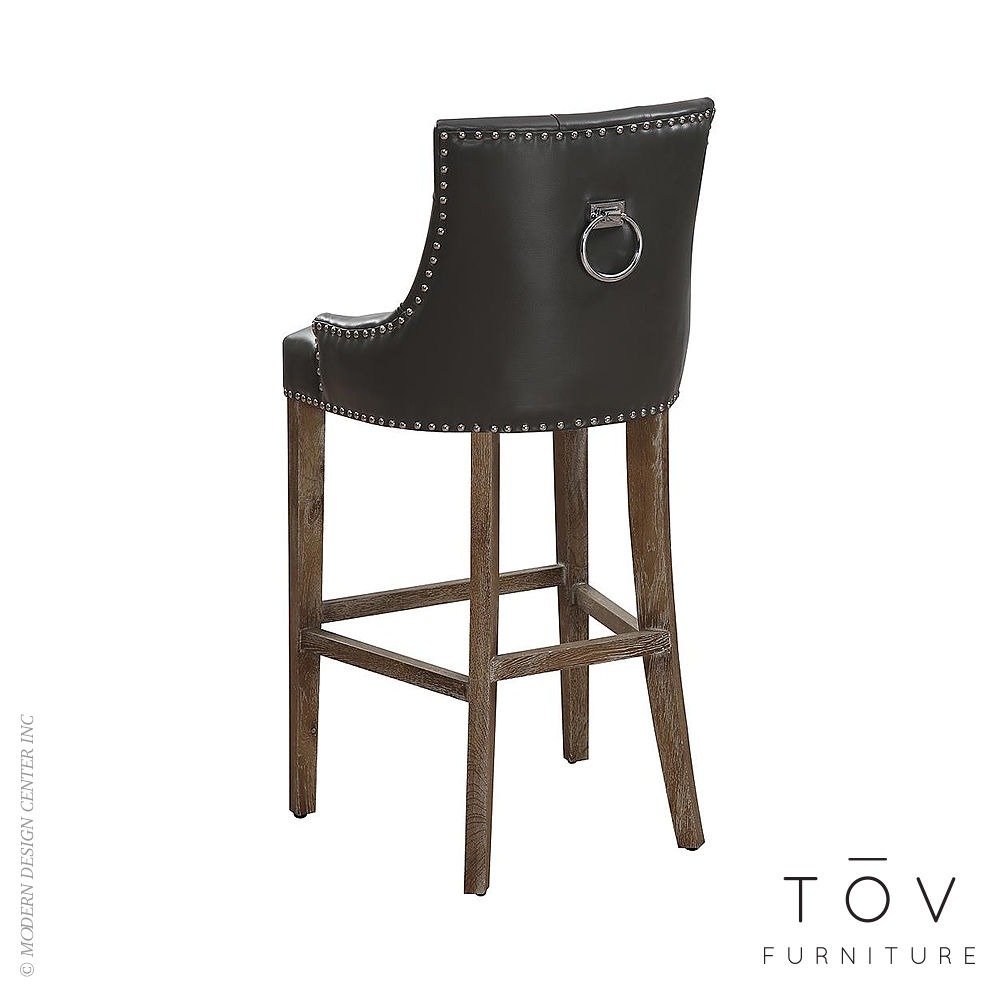 Uptown Grey Leather Counter Stool Tov Furniture Modernshoppe