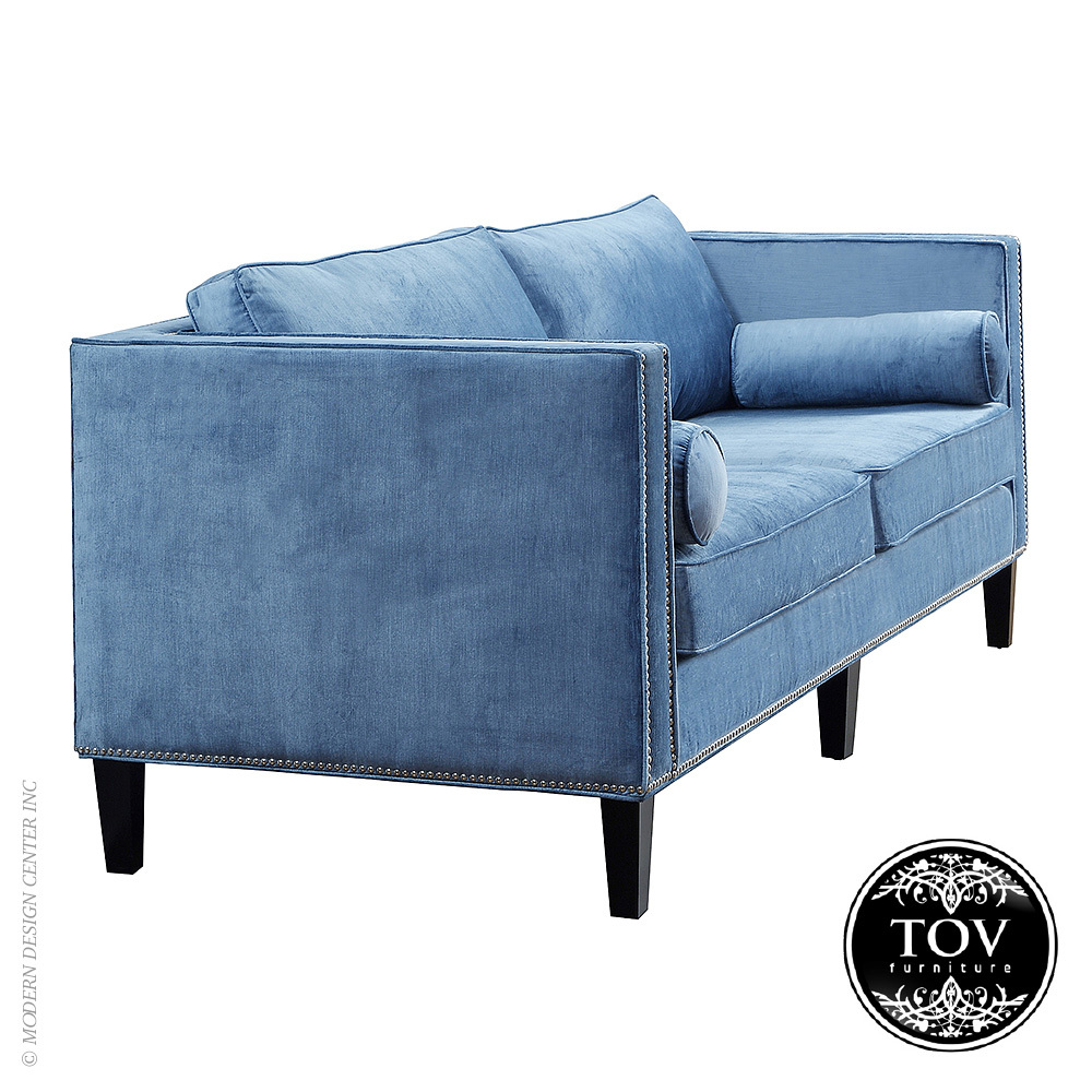 Cooper Blue Velvet Sofa Tov Furniture Metropolitandecor