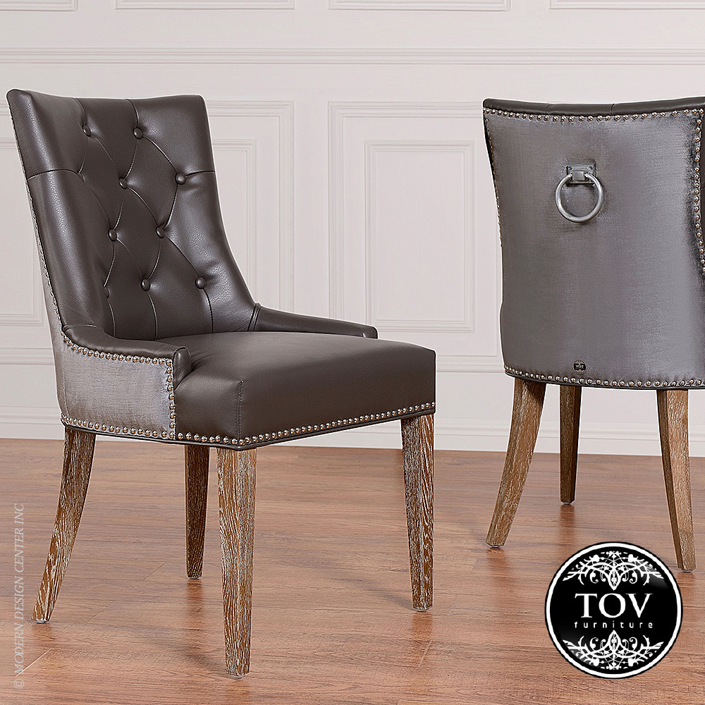 Uptown Grey Leather Velvet Dining Chair Tov Furniture
