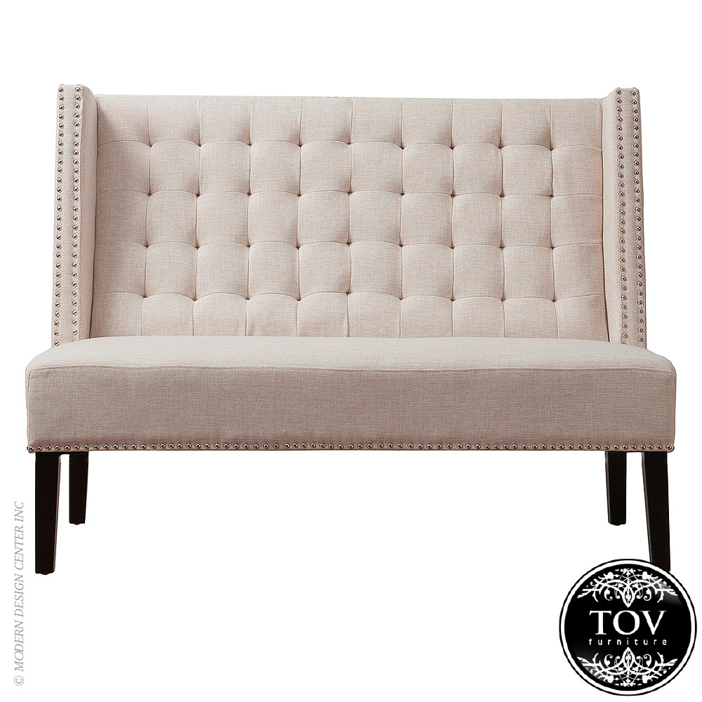 Halifax beige linen banquette bench tov furniture for Banquette bench