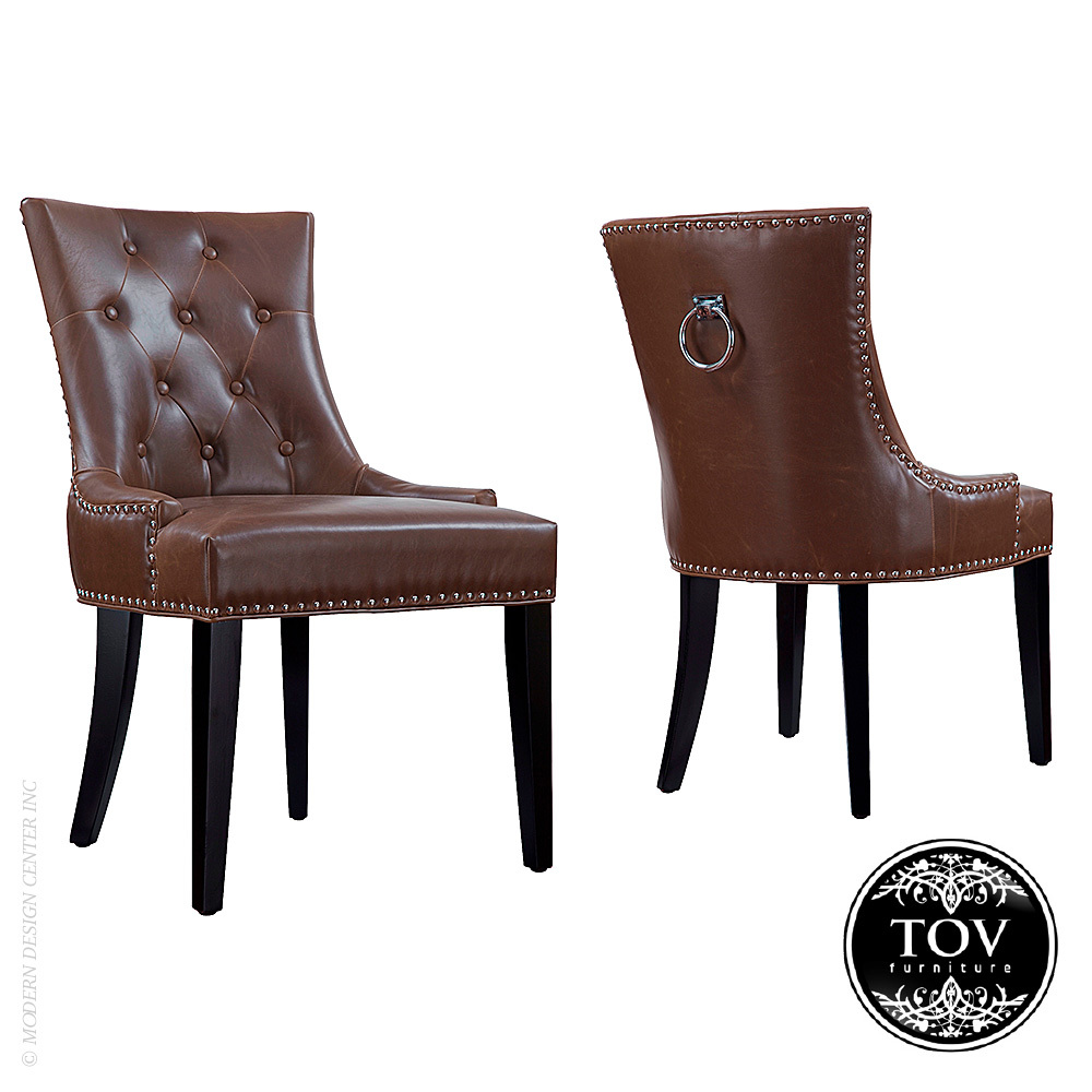 Uptown Antique Brown Leather Dining Chair Tov Furniture