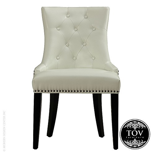 Uptown cream leather dining chair tov furniture for Cream leather dining chairs