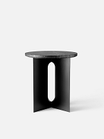 Androgyne Side Table Steel Base in Black Table Top in Black Marble