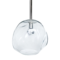Molten Pendant Large with Clear Glass in Polished Nickel