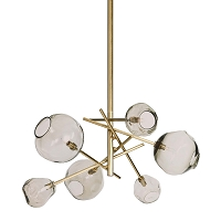 Molten Chandelier with Smoke Glass in Natural Brass