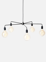 Chambers Chandelier Black 30 in and Five TR Matte Bulbs Set