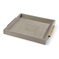 Square Shagreen Boutique Tray in Ivory Grey Python