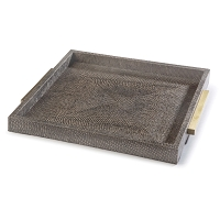Square Shagreen Boutique Tray in Vintage Brown Snake
