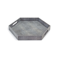 Shagreen Hex Tray in Charcoal