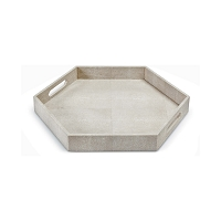 Shagreen Hex Tray in Ivory Grey