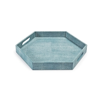 Shagreen Hex Tray in Turquoise
