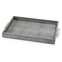 Shagreen Rectangle Tray in Charcoal Grey