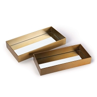Rectangle Metal Tray Set in Natural Brass