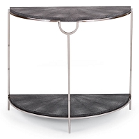 Vogue Shagreen Demilune Console in Charcoal and Polished Nickel