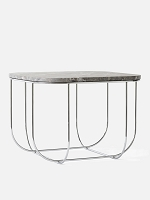 Cage Table Chrome/Grey Marble