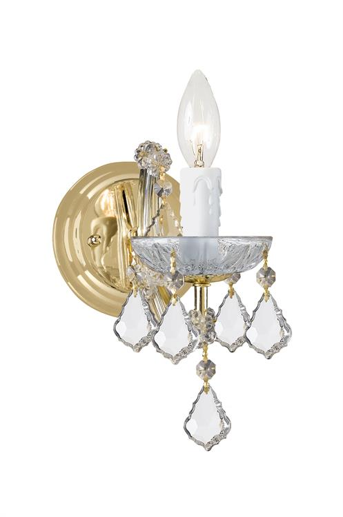 Maria Theresa 1-Light Clear Crystal Gold Sconce I | Crystorama
