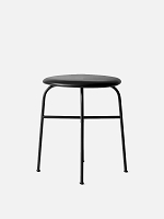 Afteroom Stool Black Legs Sorensen 20296 Leather Pitch Black Seat