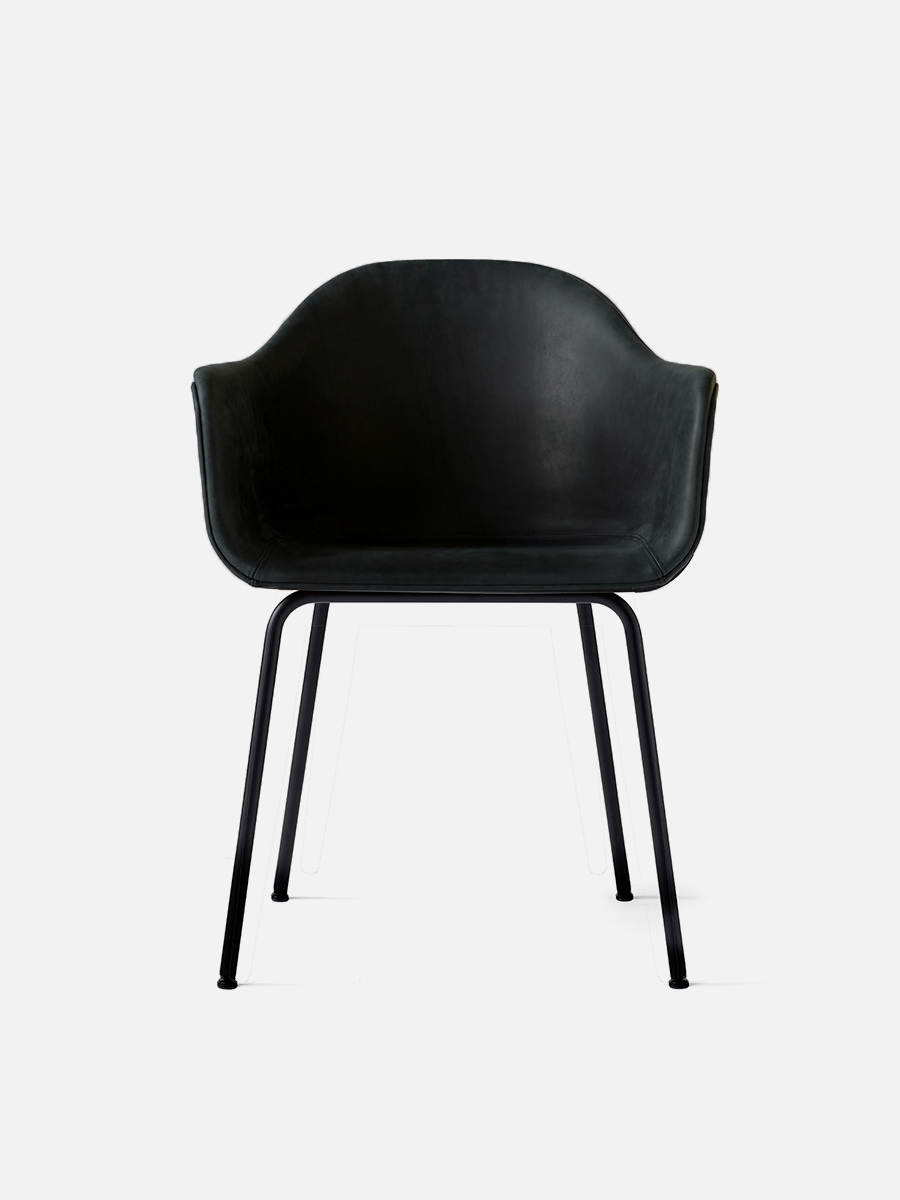 Harbour Chair Legs in Black Steel and Leather Shell Nevotex Dakar 0842 Black