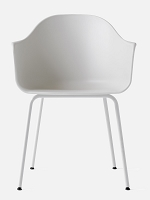 Harbour Chair Legs in White Steel and Shell in Light Grey