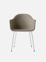 Harbour Chair Legs in White Steel and Fabric Shell Kvadrat Remix 2 233 Sandy Brown