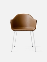 Harbour Chair Legs in White Steel and Leather Shell Sorensen Dunes 21000 Cognac