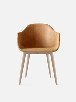 Harbour Chair Legs in Natural Oak and Leather Shell Sorensen Dunes 21000 Cognac