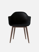 Harbour Chair Legs in Dark Oak and Leather Shell Sorensen Dunes 21003 Black