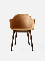 Harbour Chair Legs in Dark Oak and Leather Shell Sorensen Dunes 21000 Cognac