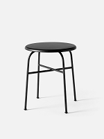 Afteroom Bar Stool Black Legs Sorensen 20296 Leather Pitch Black Seat